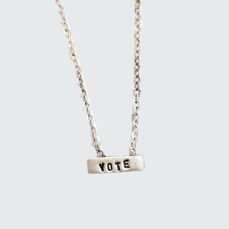 Vote Tiny Mantra Necklace