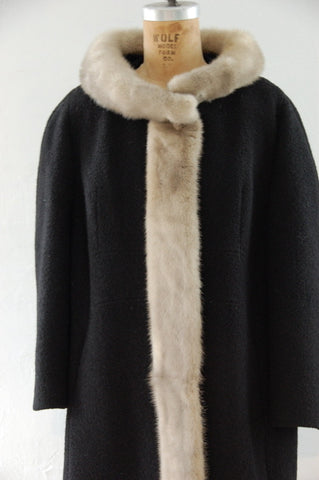 60's Black Wool Princess Coat