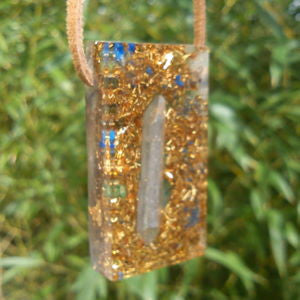 Golden Harmonizer, rectangle, emerald-lapis lazuli - Lightstones Orgone , orgonite, EMF protection, orgone pendants, orgone devices, energy jewelry