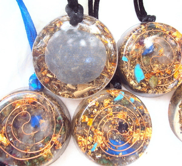 10 Golden Spiral Pendants - Lightstones Orgone , orgonite, EMF protection, orgone pendants, orgone devices, energy jewelry