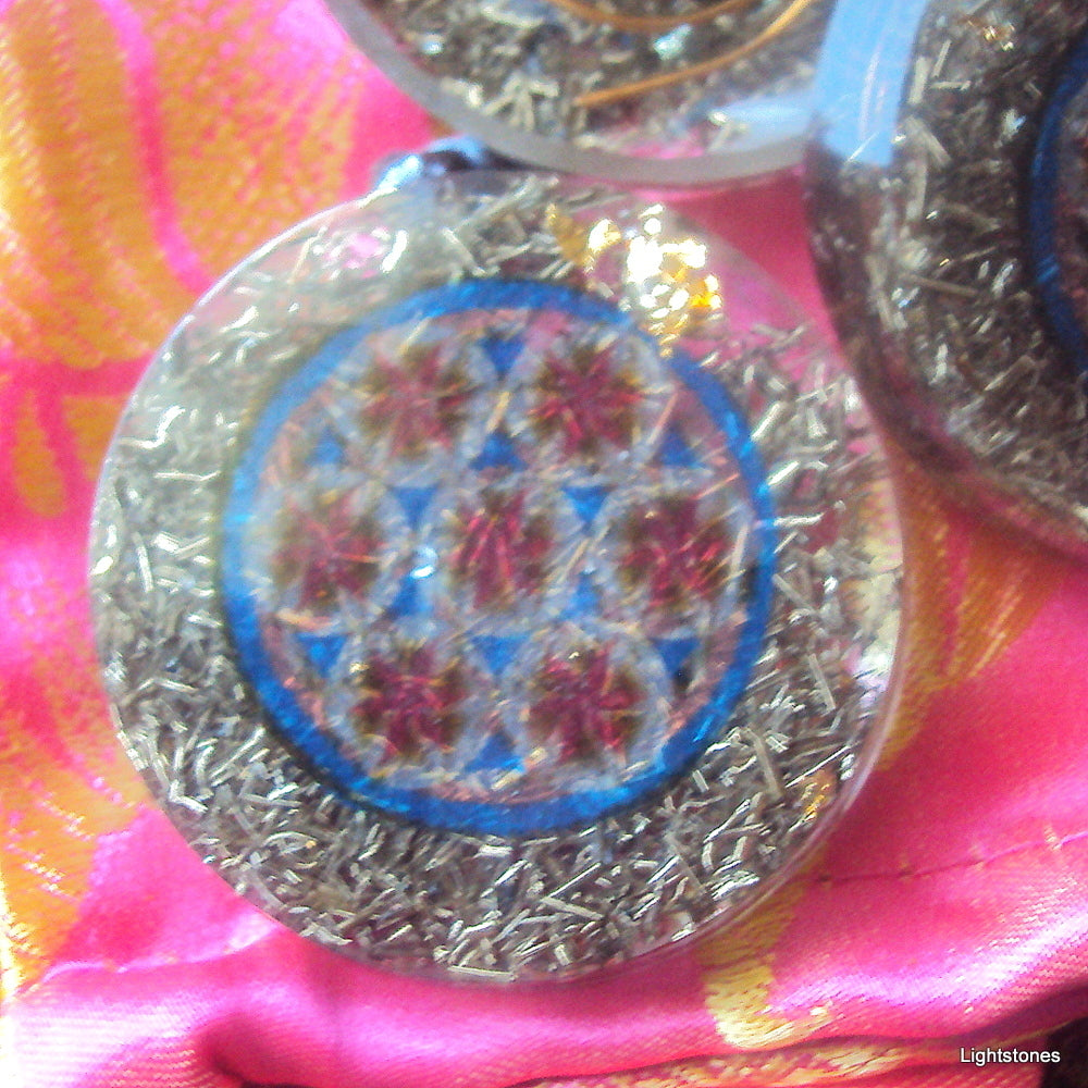 Flower of Life Mandala Orgone Pendant - Lightstones Orgone , orgonite, EMF protection, orgone pendants, orgone devices, energy jewelry
