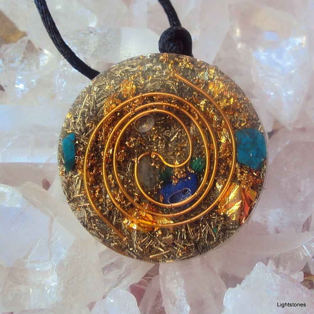Golden Spiral Orgone Pendant, lapis and malachite - Lightstones Orgone , orgonite, EMF protection, orgone pendants, orgone devices, energy jewelry