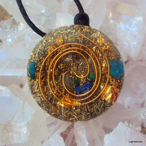 Golden Spiral Orgone Pendant, lapis and malachite