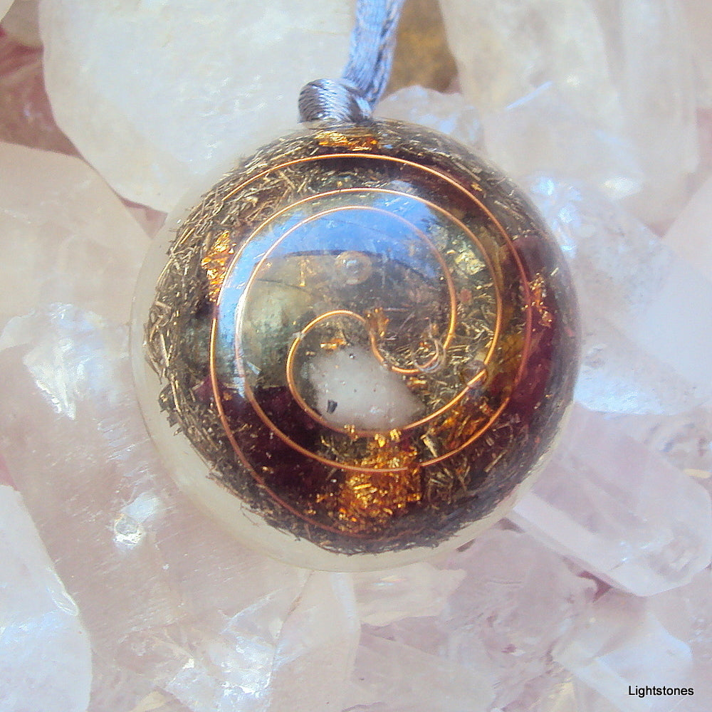 Personal Protection Orgone Pendant with ametyst and rose quartz