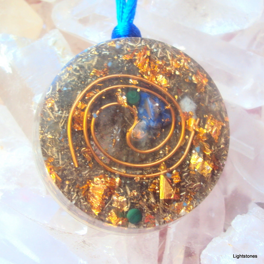 Golden Spiral Orgone Pendant, lapis, turquoise and malachite