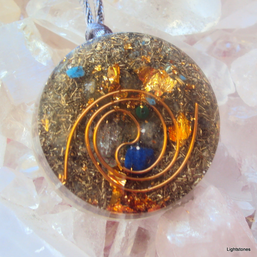 Golden Spiral Orgone Pendant, lapis,aquamarine and malachite - Lightstones Orgone , orgonite, EMF protection, orgone pendants, orgone devices, energy jewelry