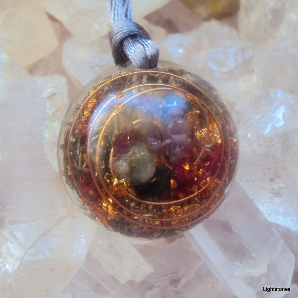 Lightdrop Orgone Pendant, herkimmer diamond, emerald, ametyst. - Lightstones Orgone , orgonite, EMF protection, orgone pendants, orgone devices, energy jewelry