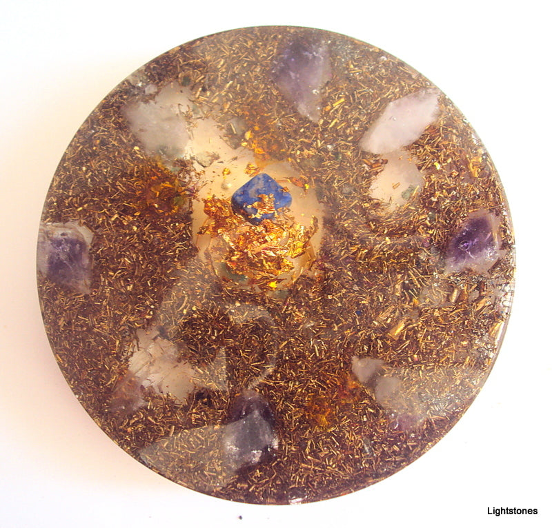 Small Orgone Charging Plate, lapis lazuli, ametyst and quartz