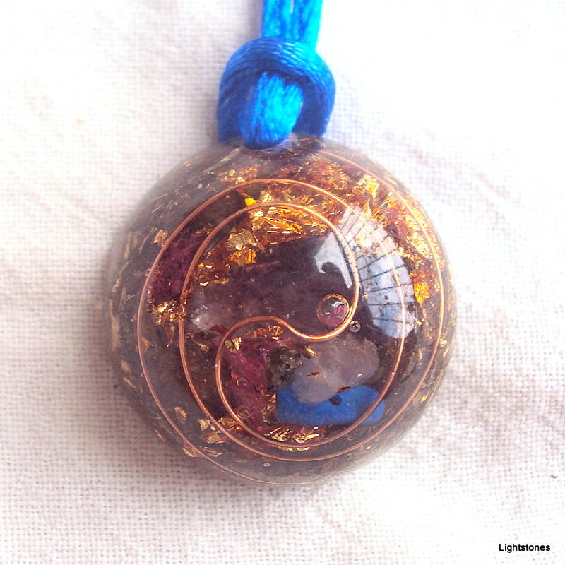 Lightdrop Orgone Pendant, rose quartz, lapis and ametyst - Lightstones Orgone , orgonite, EMF protection, orgone pendants, orgone devices, energy jewelry