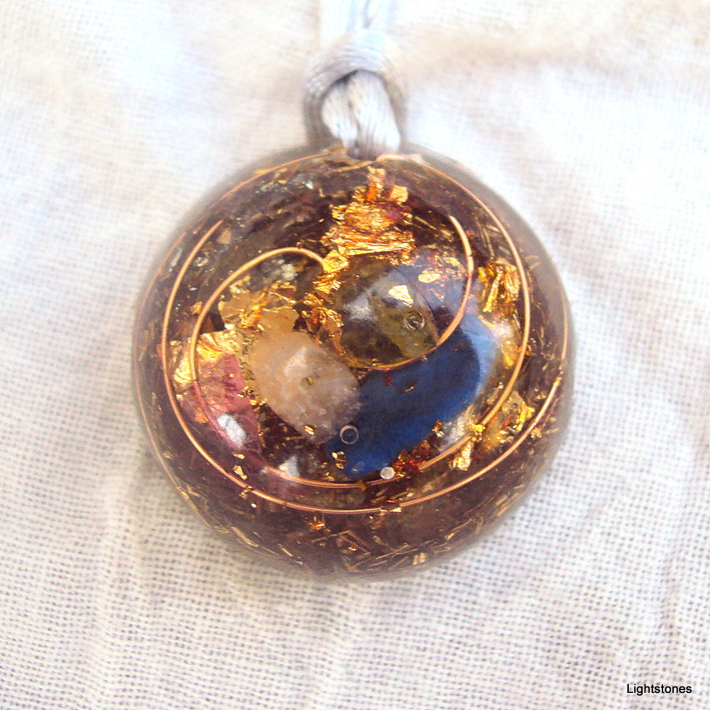 Lightdrop Orgone Pendant, rose quartz, lapis lazuli and peridot - Lightstones Orgone , orgonite, EMF protection, orgone pendants, orgone devices, energy jewelry