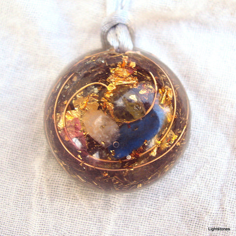 Lightdrop Orgone Pendant, rose quartz, lapis lazuli and peridot
