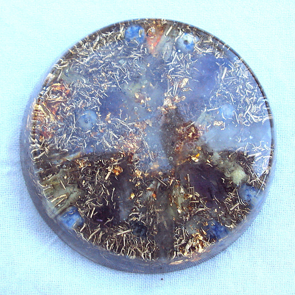 Orgone Travellers Charging Plate, lapis lazuli and ametyst. - Lightstones Orgone , orgonite, EMF protection, orgone pendants, orgone devices, energy jewelry