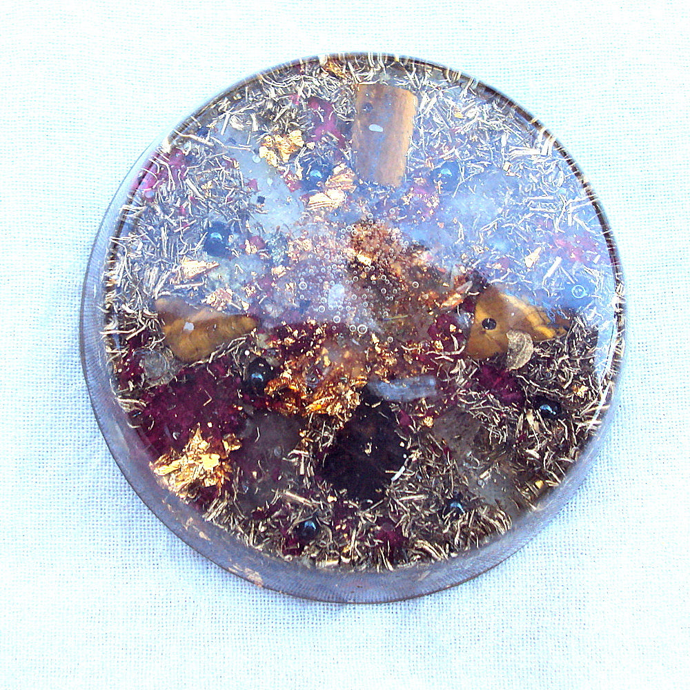 Orgone Travellers Charging Plate, tiger's eye and hematite. - Lightstones Orgone , orgonite, EMF protection, orgone pendants, orgone devices, energy jewelry