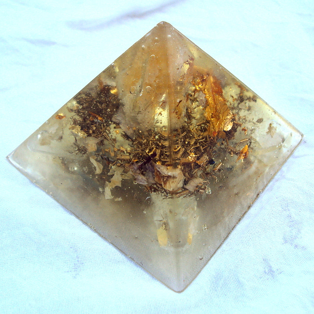 HHG Orgone Pyramid with citrine - Lightstones Orgone , orgonite, EMF protection, orgone pendants, orgone devices, energy jewelry