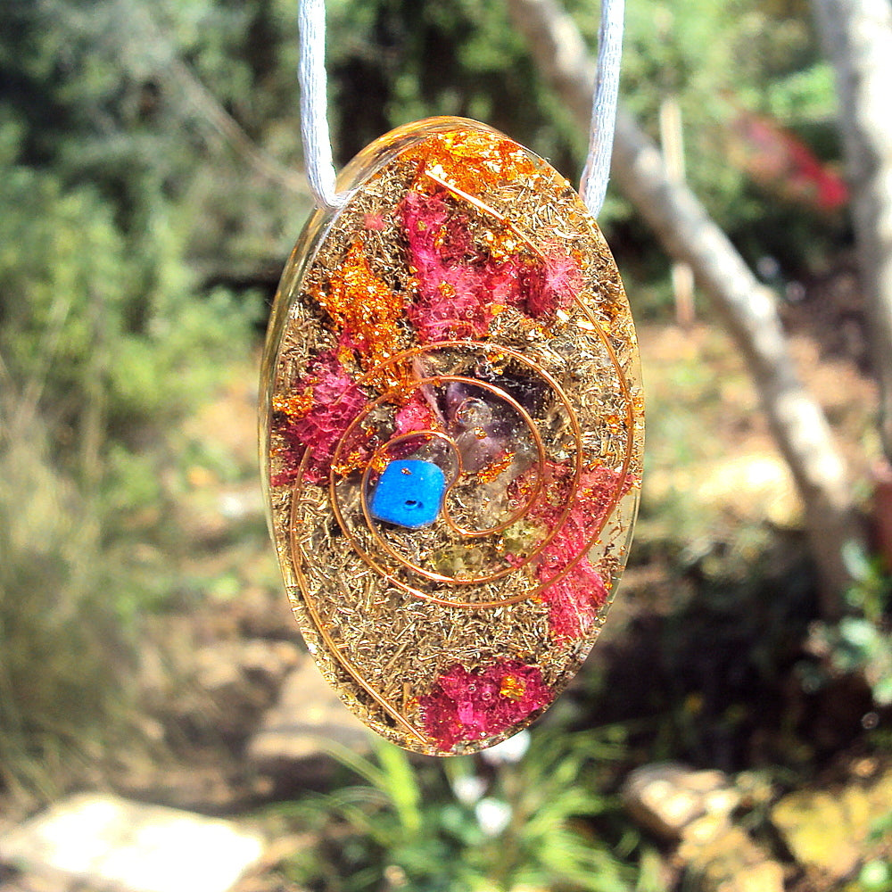 Golden Spiral Orgone Pendant, oval shape, ametyst-lapis lazuli-emerald - Lightstones Orgone , orgonite, EMF protection, orgone pendants, orgone devices, energy jewelry