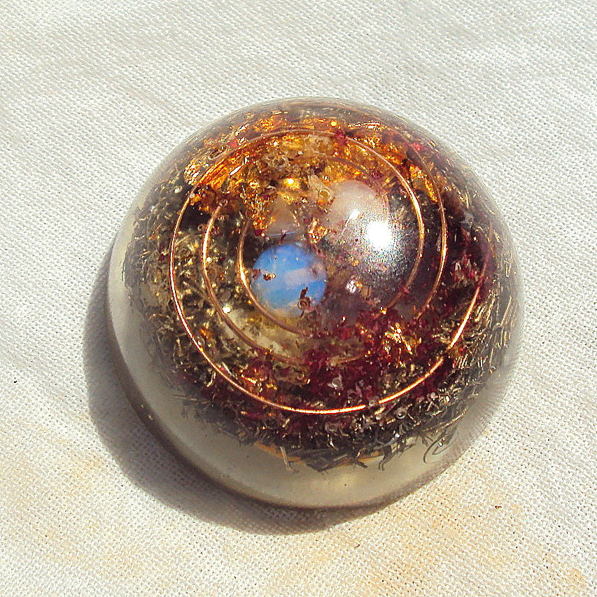 Pocket Orgone Device TB, opal and pearl - Lightstones Orgone , orgonite, EMF protection, orgone pendants, orgone devices, energy jewelry