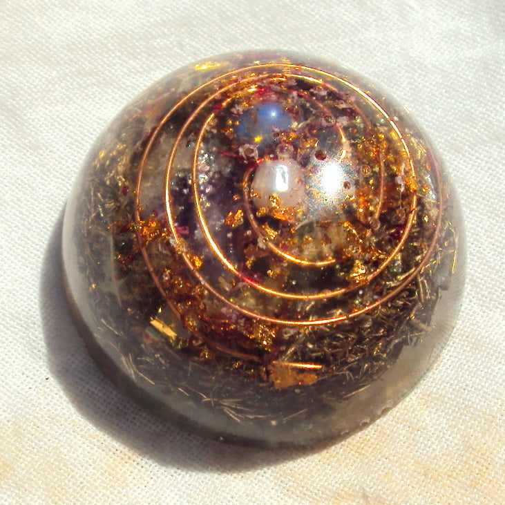 Pocket Orgone Device TB, garnet, opal and pearl - Lightstones Orgone , orgonite, EMF protection, orgone pendants, orgone devices, energy jewelry