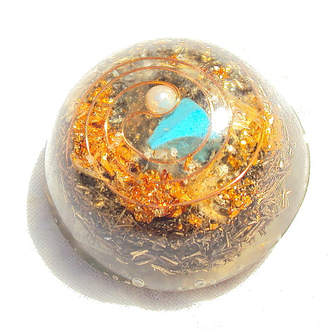 Pocket Orgone Device TB, turquoise and pearl