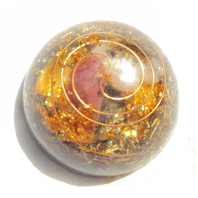 Pocket Orgone Device TB, carnelian and pearl - Lightstones Orgone , orgonite, EMF protection, orgone pendants, orgone devices, energy jewelry