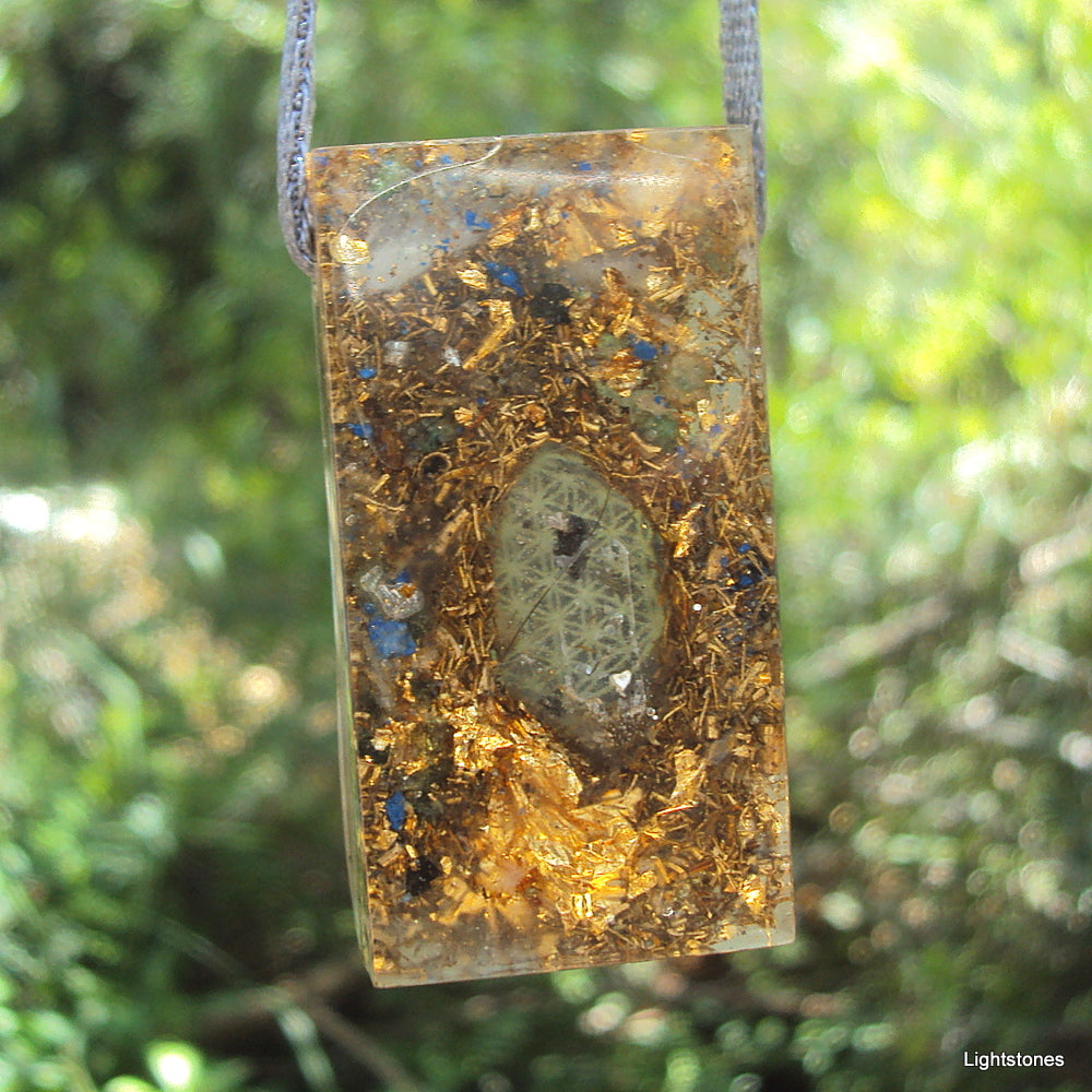 Golden Harmonizer, rectangle, lapis lazuli and black tourmaline - Lightstones Orgone , orgonite, EMF protection, orgone pendants, orgone devices, energy jewelry