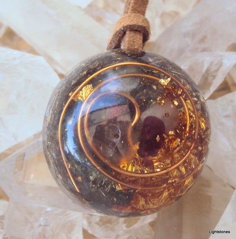 Lightdrop Orgone Pendant, garnet and herkimmer diamond