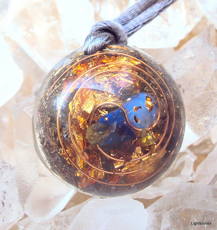 Lightdrop Orgone Pendant, lapis lazuli, peridot, and opal - Lightstones Orgone , orgonite, EMF protection, orgone pendants, orgone devices, energy jewelry