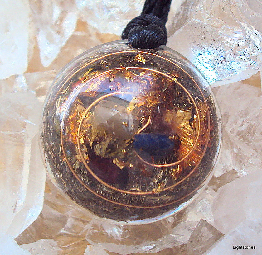 Lightdrop Orgone Pendant, citrine, lapis lazuli - Lightstones Orgone , orgonite, EMF protection, orgone pendants, orgone devices, energy jewelry