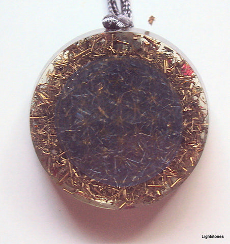Blue Flower of Life Mandala Pendant with shungite