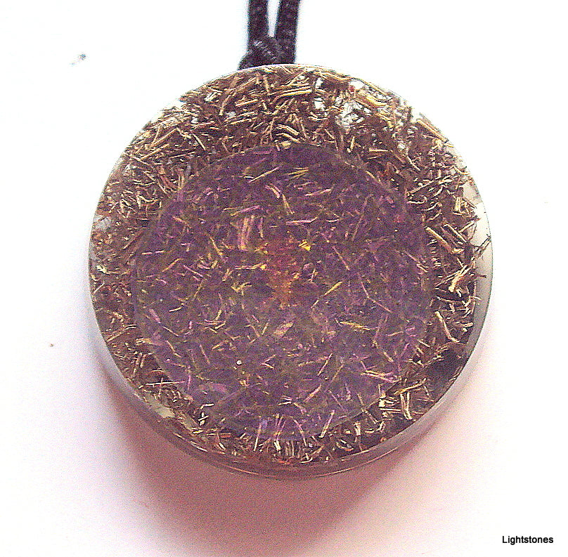 Purple Flower of Life Mandala Pendant with shungite - Lightstones Orgone , orgonite, EMF protection, orgone pendants, orgone devices, energy jewelry