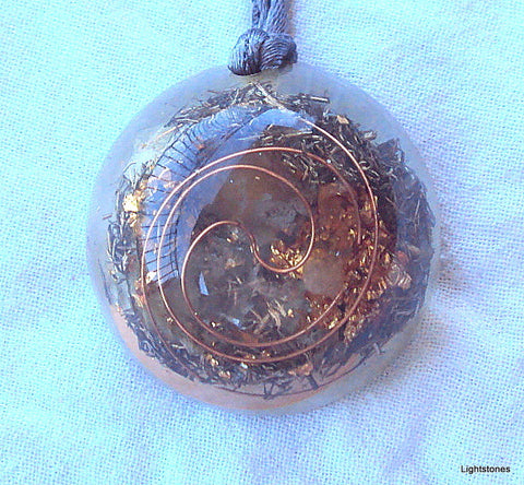 Personal Protection Orgone Pendant with citrine, rose quartz, herkimmer diamond