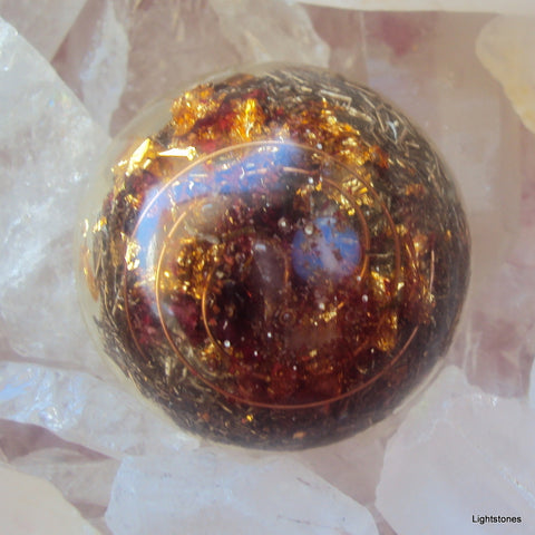 Pocket Orgone Device TB, opal and garnet