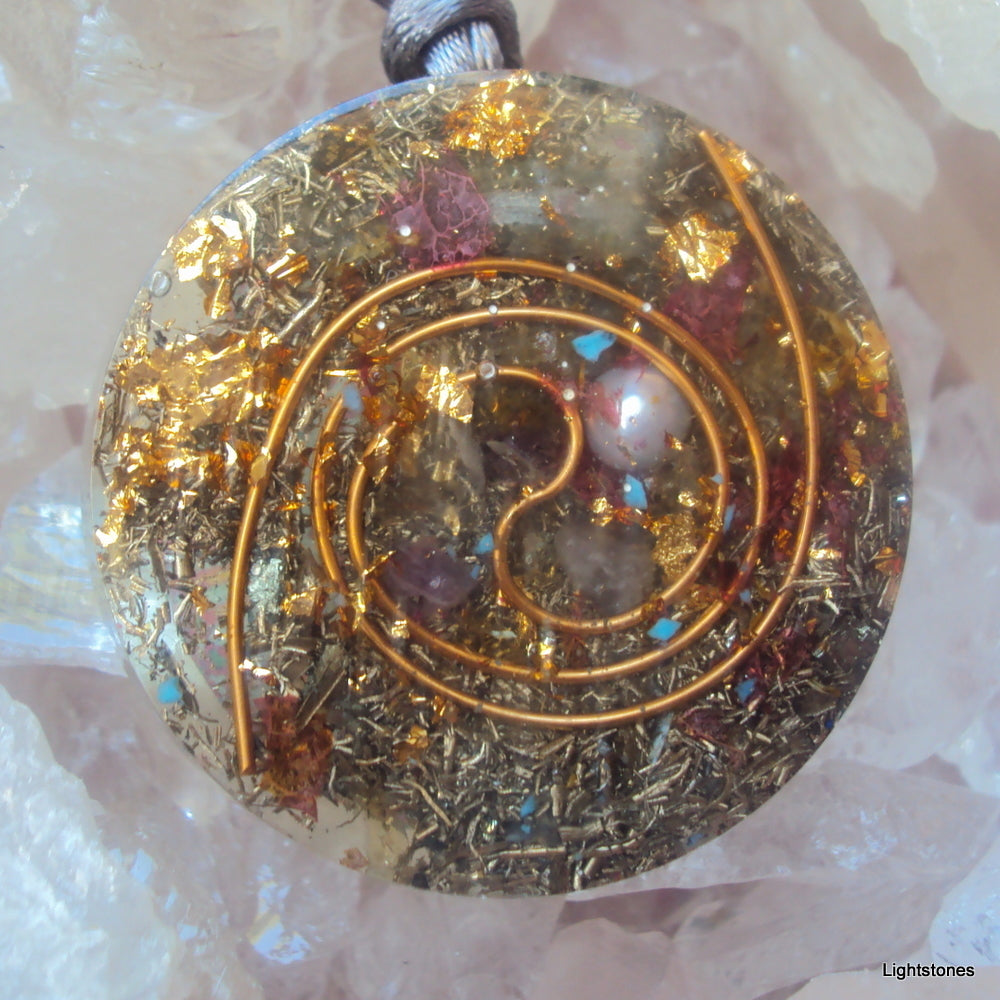 Golden Spiral Orgone Pendant, pearl and ametyst - Lightstones Orgone , orgonite, EMF protection, orgone pendants, orgone devices, energy jewelry
