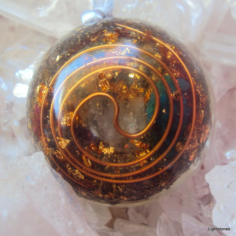 Personal Protection Orgone Pendant with citrine and turquoise - Lightstones Orgone , orgonite, EMF protection, orgone pendants, orgone devices, energy jewelry