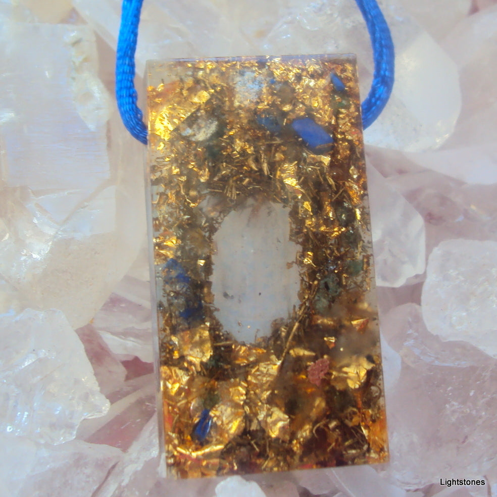 Golden Harmonizer, rectangle, herkimmer, lapis lazuli and rose quartz - Lightstones Orgone , orgonite, EMF protection, orgone pendants, orgone devices, energy jewelry