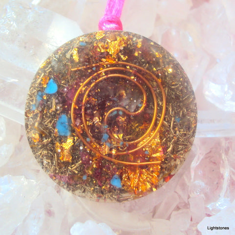 Golden Spiral Orgone Pendant with shungite, citrine and ametyst