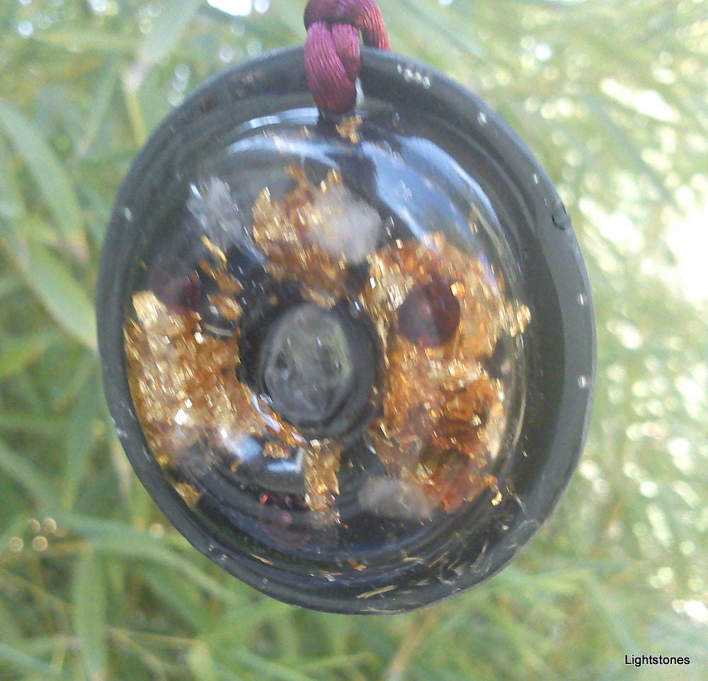 Shungite torus disc orgone pendant, garnet and rose quartz - Lightstones Orgone , orgonite, EMF protection, orgone pendants, orgone devices, energy jewelry