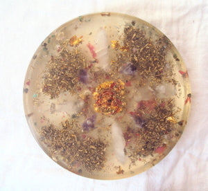 Medium Orgone Charging Plate, white quartz, garnet, rose quartz