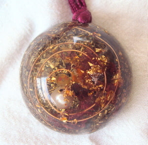 Personal Protection Orgone Pendant with pearl - Lightstones Orgone , orgonite, EMF protection, orgone pendants, orgone devices, energy jewelry