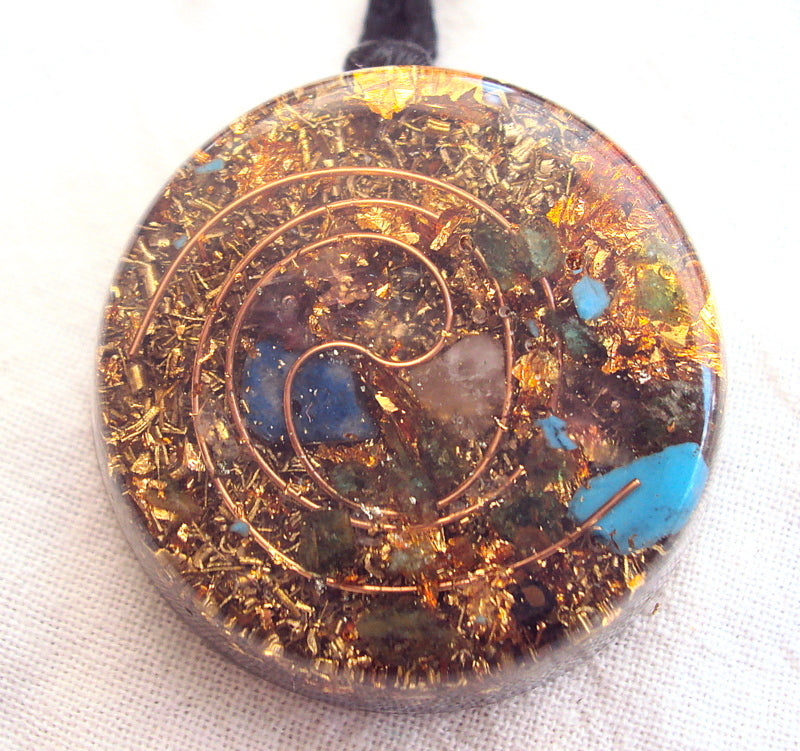 Golden Spiral Orgone Pendant - Lightstones Orgone , orgonite, EMF protection, orgone pendants, orgone devices, energy jewelry