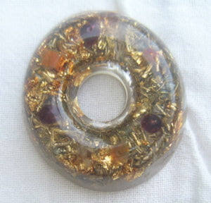 Orgone Torus, garnet and carnelian - Lightstones Orgone , orgonite, EMF protection, orgone pendants, orgone devices, energy jewelry