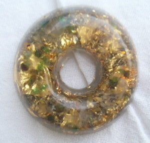 Orgone Torus, emerald and rosequartz