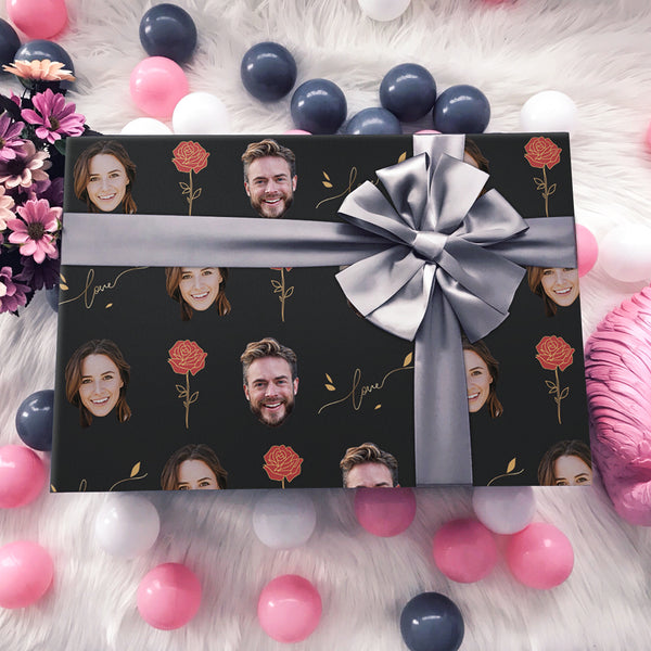 Custom Face Gift Wrap-Love And Rose