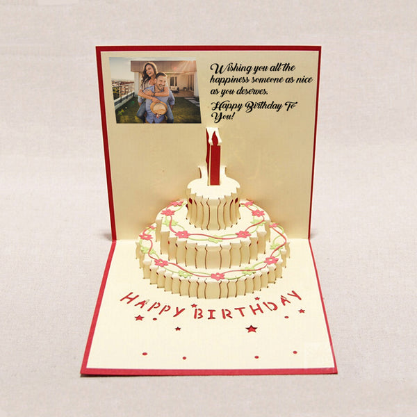 Custom 3D Pop Up Bday Greeting Cards LED Light Music Card Postcards