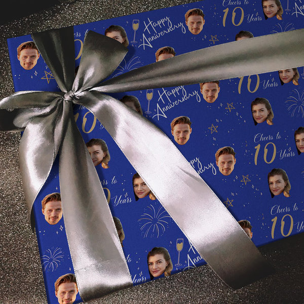Custom Face Anniversary Gift Wrap-Cheers To 10 Years