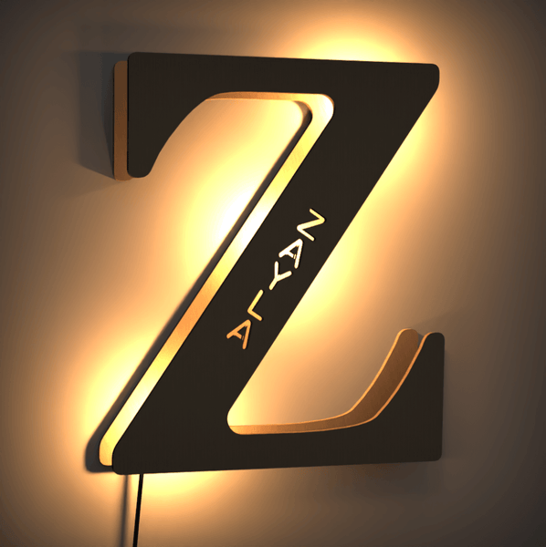 Creative Woodcut Letter Lamp Billboard Lamp Night Light - For Lover