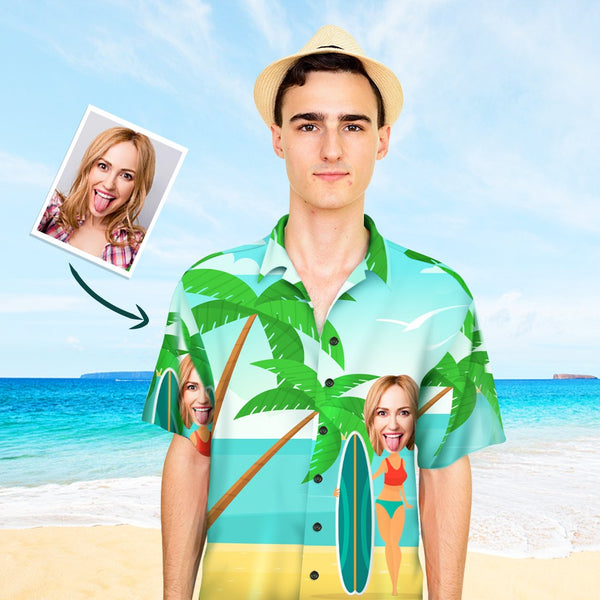Custom Face Men's Hawaiian Shirt Vacation Surfing