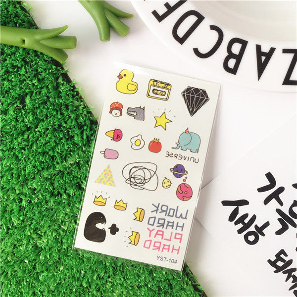 Cartoon Tattoo Sticker Cute Temporary Tattoo Sticker Various Patterns
