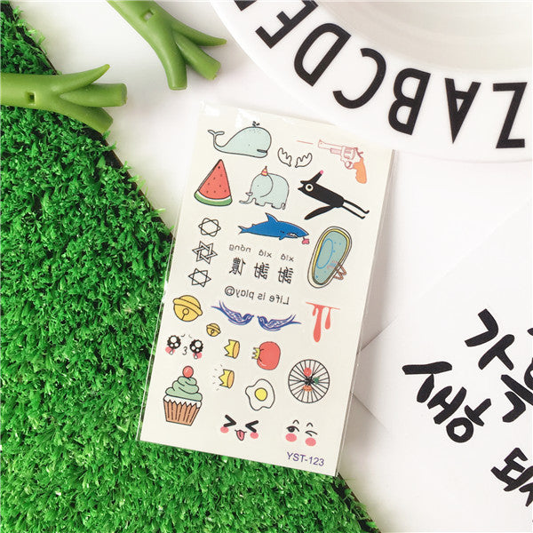 Korean Cute Various Patterns Stickers Temporary Tattoo Sticker