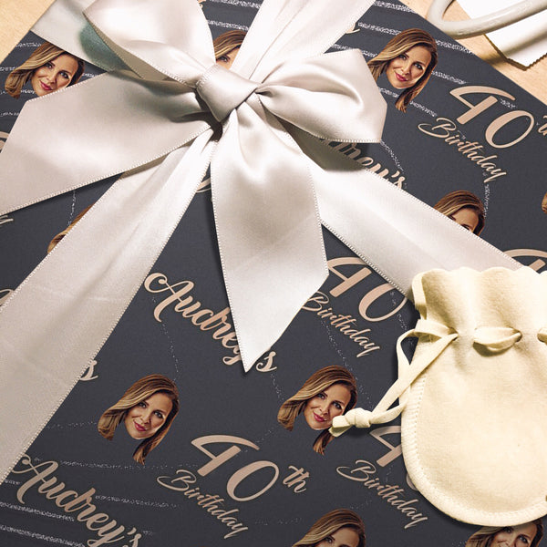 Custom Face Age Name Gift Wrap-Happy 40th Birthday