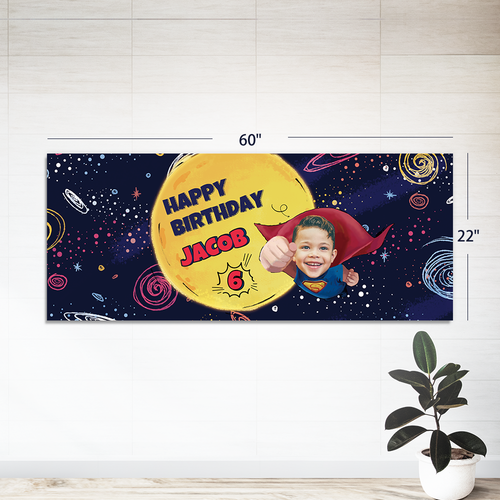 Custom Party Banner- Superhero (22 in. x 60 in. )